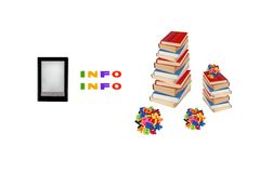 Electronic book, e-learning and books Royalty Free Stock Photo