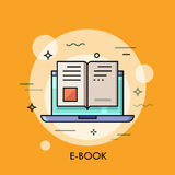Electronic book icon, digital reading concept Stock Photos