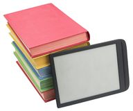 Electronic book reader and books on white Stock Images