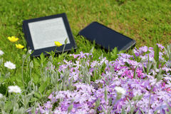 An electronic book reader and mobile phone on the grass. Books, technology and nature. Electronic book reader Stock Photo
