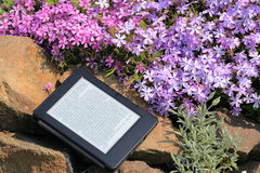 An electronic book reader on the stone. Books, technology and nature. Electronic book reader Stock Image