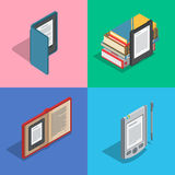 Electronic books icon set. Isometric flat vector. Electronic reader books set. New 3d colorful icon. Mobile tablet device. Modern gadget. Isometric flat badges Royalty Free Stock Images