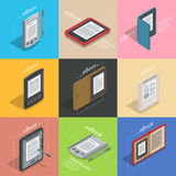 Electronic books icon set. Isometric flat vector. Electronic reader books set infographic. New 3d colorful icon. Mobile tablet device. Modern gadget. Isometric Royalty Free Stock Image