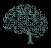 Electronic brain on black Royalty Free Stock Photos