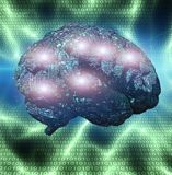 Electronic Brain. Binary code background royalty free illustration