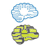 Electronic brains. With circuit chip vector illustration