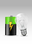 Electronic bulb with battery Royalty Free Stock Photos