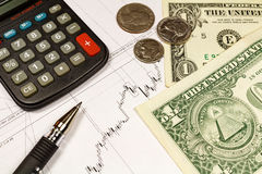Electronic Calculator, Coins With US Dollars Banknotes And Ball Pen On The Background Of Currency Growth Schedule Royalty Free Stock Images