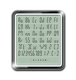 Electronic calculator font. Vector illustration EPS10. Transparent objects and opacity masks used for shadows and lights drawing Stock Photography