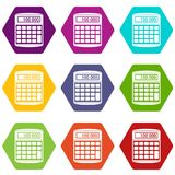 An electronic calculator icon set color hexahedron Royalty Free Stock Images