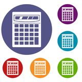 Electronic calculator icons set Stock Photo