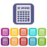 Electronic calculator icons set flat. Electronic calculator icons set vector illustration in flat style In colors red, blue, green and other Stock Image