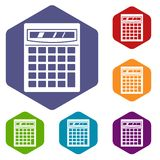 Electronic calculator icons set hexagon Royalty Free Stock Photo
