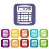 An electronic calculator icons set. Vector illustration in flat style in colors red, blue, green, and other Stock Image