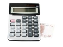 Electronic calculator, and note 10 euros Royalty Free Stock Photos