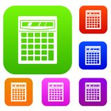 Electronic calculator set color collection Royalty Free Stock Image