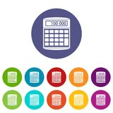 An electronic calculator set icons Royalty Free Stock Images