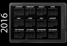 2016 electronic calendar Royalty Free Stock Photo