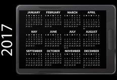 2017 electronic calendar. Illustration of 2017 electronic calendar Stock Photography