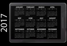 2017 electronic calendar. Illustration of 2017 electronic calendar royalty free illustration