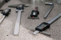 Electronic caliper. Close up, depth of field, selective focus stock image