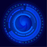 Electronic camera sensor and lens with scale abstract background Royalty Free Stock Images