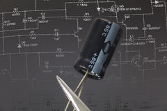 Electronic capacitor Royalty Free Stock Photos
