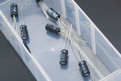 Electronic capacitors Royalty Free Stock Image