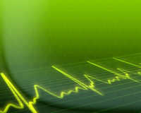 Electronic cardiogram on green background Royalty Free Stock Photo