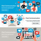 Electronic Chat Messages Horizontal Banners. Dynamic interactive communication chat messages symbols with electronic mobile devices 3 horizontal banners design vector illustration