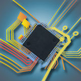 Electronic chip and circuit Stock Photo