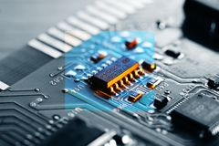 Electronic chip on circuit board Royalty Free Stock Photo