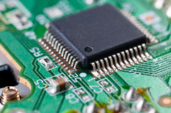 Electronic chip on computer circuit board Stock Photo