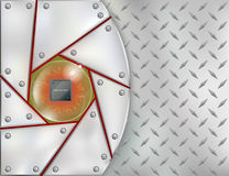Electronic chip embedded in steel frame Royalty Free Stock Image