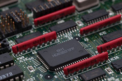 Electronic chip on green PCB and parallel resister Royalty Free Stock Image