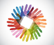 electronic chip over diversity hands circle Stock Image