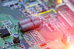 Electronic chip and standard inscriptions of resistors and condensers Stock Images
