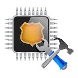 Electronic chip and tools. Illustration design over a white background stock illustration