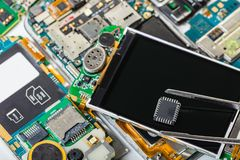 Electronic chip in tweezers. On background of the disassembled mobile phone stock photos