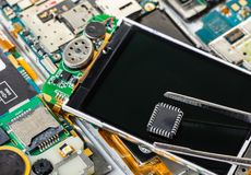 Electronic chip and tweezers stock photo
