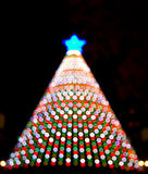 Electronic Christmas tree bokeh lights santa night Stock Photos