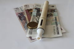 Electronic Cigarette. On a background of money Stock Images