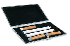 Electronic cigarette in a case Royalty Free Stock Image
