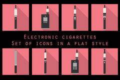 Electronic cigarette, electronic cigarette flat icons, e-cigarette icons, types vaporizers, smoking electronic cigarette, set. Stock Image