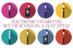 Electronic cigarette. Electronic cigarette flat icons. Types vap Stock Photos