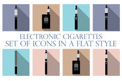 Electronic cigarette. Electronic cigarette flat icons. Types vaporizers. Royalty Free Stock Images