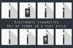 Electronic cigarette. Electronic cigarette flat icons. Royalty Free Stock Photography