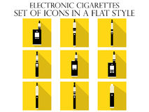 Electronic cigarette flat icons. Various types of e-cigarettes. Royalty Free Stock Image