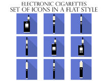 Electronic cigarette flat icons.  Royalty Free Stock Image