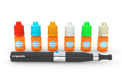 Electronic Cigarette with flavor bottles Stock Photography